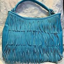 Charming Charlie Boho Hobo Handbag Purse Turquoise With 3 Rows of Fringe Photo