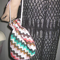 Charming Missoni Orange Label Knit Vibrant Zig-Zag Pouch Small Bag Nwt  Photo