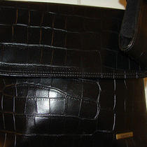 Charter Club Black Nwot Faux Croc Handbag/purse-Cell Phone Case/multi-Pockets Photo