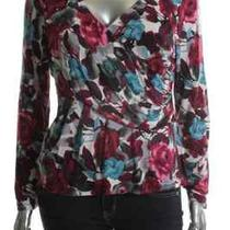 Charter Club New Flight of Fancy Multi-Color Floral Print Faux Wrap Casual Top L Photo