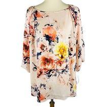 Charter Club Top Blouse Blush Creme Orange Floral Printed Size 0x Plus 90 Nwt Photo