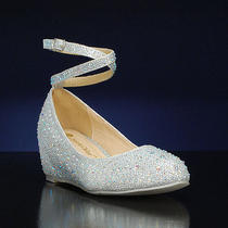 Chase and Chloe Silver Wedge Heel W/ Ankle Strap - Size 7.5 Photo
