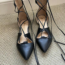 Chase and Chloe Womens Size 10 Ankle Tie Up Ballet Flat- Black Photo