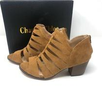 Chase & Chloe Size 10 Cutout Chunky Block Heel Booties Sandals Tan Faux Suede Photo