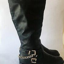 Chase & Chloe Tall Chain Buckle Faux Leather Black Riding Boots Size 6 Euc Photo