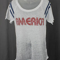 Chaser Burnout White Red Blue America Graphic Open Back Tee Shirt Top Size S Photo