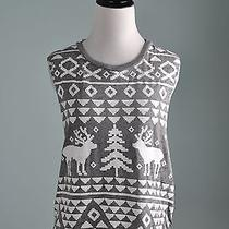 Chaser Collection Free People Nwt 59 Reindeer Semi Sheer Tank Top Size Medium Photo