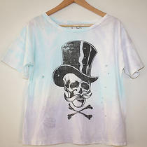 Chaser La Destroyed Tophat Mustache Skull Oversized Boxy Tee T Shirt Top Small Photo