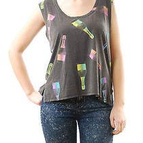 Chaser Women's Tank Top Champagne Bottle Print Scoop Neck Washed Black Size S Photo