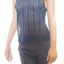 Chaser Womens Blue Mesh See Through Floral Sleeveless Tank Top Shirt Small Photo
