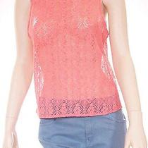 Chaser Womens Orange Mesh See Through Floral Sleeveless Tank Top Shirt Small Photo