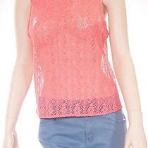Chaser Womens Orange Mesh See Through Floral Sleeveless Tank Top Shirt Small Photo