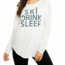 Chaser Womens Ski Drink Sleep Top White Small S Slub Knit Shirttail 64- 380 Photo