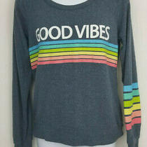 Chaser Womens Xs Extra Small Good Vibes Rainbow Pullover Sweatshirt Sweater Blue Photo