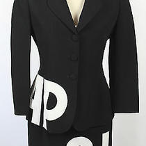 Cheap and Chic by Moschino Black Skirt Suit Blazer Size 10 Small Italy Vintage Photo
