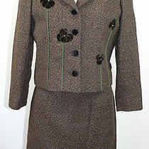 Cheap and Chic by Moschino Brown Skirt Suit Blazer Tweed Size 10 Small Vintage Photo