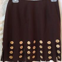 Cheap and Chic by Moschino Brown Skirt W/ Wood Slice Embellished Fringe8italy Photo