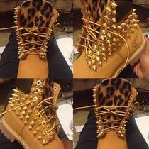 Cheetah Print Studded Timberland Boots Photo