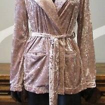 Chelsea 28 Xs Blush Pink Crushed Velour Trench Tie Blazer Jacket - Xsmall Photo