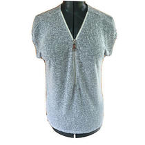 Chelsea and Theodore Womans Medium Gray Zip Front Pull Over Sleeveless Tunic Top Photo