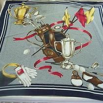 Chelsea & Campbell 100%  Silk Scarf Golf Clubs Design Photo