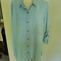 Chelsea & Theodore Wash Lite Blue Tunic Shirt Roll Up Sleeves Size Xxl Photo