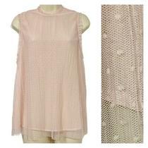 Chelsea28 Women's Large Sleeveless Top Pink Blush Polka Dot Sheer Overlay  Photo