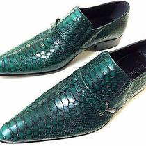 Chelsy Fancy Leather Green Crocodile Men's Shoes Green Croc Designer Slippers 42 Photo