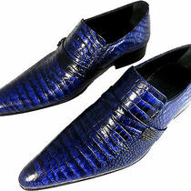Chelsy Handmade Men's Shoe Slippers Leather Croc Blue Leather Sole Photo