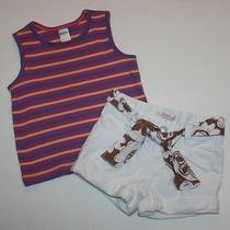 Cherokee Girls Striped Tank Top Shirt Old Navy White Denim Shorts Size 3t Photo