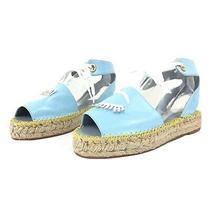 Chiara Ferragni Blue Patent Wink Flirty Espadrilles Ankle Strap Sandals Sz 40 It Photo
