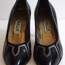 Chic  Bally Sexy Black Leather Pumps Heels Luxury High End 7m Italy Photo