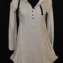 Chic Boho Gray Sporty Baby Doll Mini Sweatshirt Hoodie Dress Tunic Blouse Top S Photo