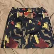 Chic Dkny City Khaki Green Print Short Skirt Us Size 4 Uk Size 6 Donna Karan 30 Photo