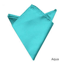 Chic Fashion Men Wedding Solid Plain Satin Hankerchief Hanky Pocket Square Photo