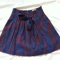 Chic Idra for Anthropologie 100% Cotton Blue & Red Tie Skirt Sz 0 Nwt Photo