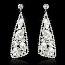 Chic Pierced Earrings Dangle Swarovski Crystal Clear Bridal Bridesmaid Art Deco Photo