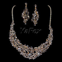 Chic Wedding Bridesmaid Crystal Element Rhinestone Earring Necklace Jewelry Set Photo