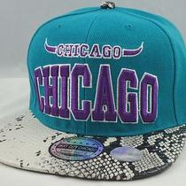 Chicago Vintage 3d Embroidery Flat Bill Snapback Hat Cap Aqua/snake Skin New Photo