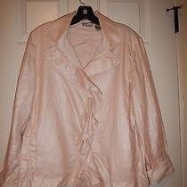 Chico's 2  Size 12 Blush Pink Shimmer Ruffles W/ Striped Accents Unlined Jacket Photo