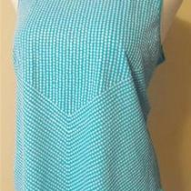 Chico's 3 L/16-18 Aqua Sleeveless Sequined Tunic Top 100% Cotton Mint Condition Photo