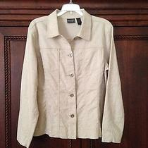 Chico's Beige Jacket With a Shine Like Design Size 2 Perfect Condition Photo