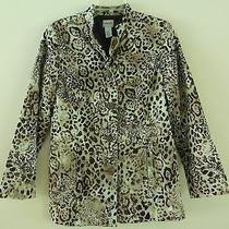 Chico's Blazer Coat Jacket Sz 0 Xs S Animal Print Brown Top Cover Up Excellent Photo