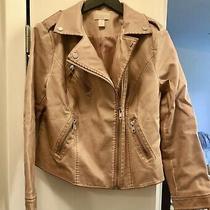 Chicos Blush Faux Leather Moto Jacket Size 1 (Womens 8/10) Photo