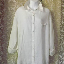 Chico's Design White 100% Linen Mother of Pearl Button Frontchest Pocket Sz 3 Photo