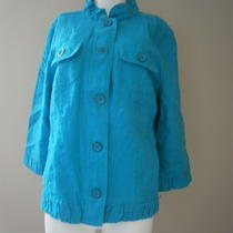 Chico's Jacket Size 2 L Large 12 14 Bright Aqua Turquoise Linen Ruffle  Photo