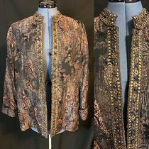 Chico's Nwt Brown Blush Embroidered Gold Sequin Rhinestone Trim Open Jacket Sz 2 Photo