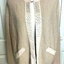 Chico's  Pink Blush Shimmer Studded Open Front Cardigan Sweater Size 2 Large Photo