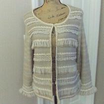 Chico's Ravishing Ruffles Sweater Cardigan Blush Color Chico's Size 2 Nwt Photo