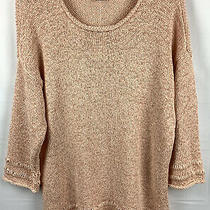 Chicos Size 2 Large Pullover Sweater Tape Yarn Open Knit Pink Blush 3/4 Sleeve Photo